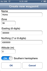Handy GPS - manual waypoint entry page